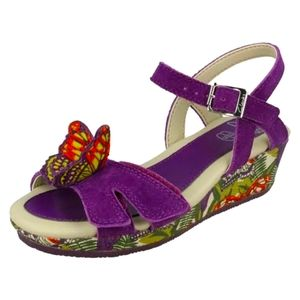 Purple suede tropical butterfly sandals